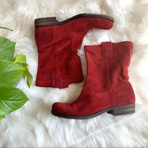 Naturalizer Red Suede Basha Slouch Boot Size 8